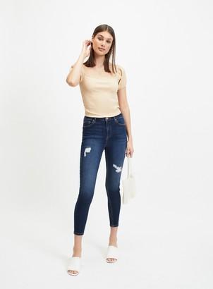 Miss Selfridge LIZZIE Dark Blue High Waist Skinny Ripped Jeans
