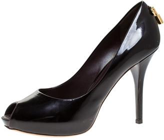 Louis Vuitton Black Patent Leather Oh Really! Peep Toe Platform Pumps Size 38.5
