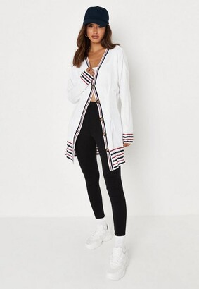 Missguided White Color Block Cinched Waist Knit Dress