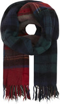 Comme Des Garcons Large Checked Wool Scarf