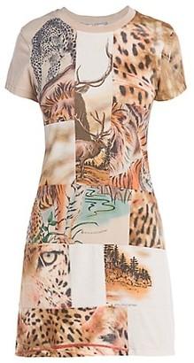 Stella McCartney Nature Patchwork Short-Sleeve Knit Mini Dress