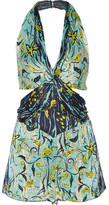 Anna Sui Cutout Printed Silk-crepon Playsuit - Turquoise