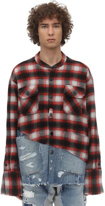Greg Lauren Boxy Plaid Cotton & Denim Shirt