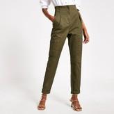 River Island Womens Khaki seamed high waisted twill trousers