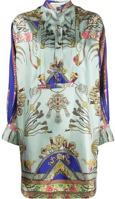Etro Jewellery-Print Satin Shirt Dress