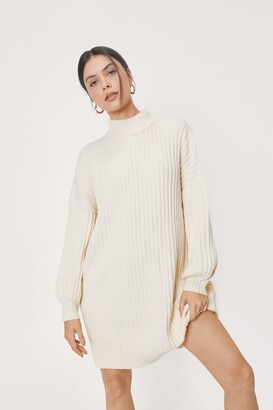 Nasty Gal Womens On a Roll Knitted Turtleneck Dress - White
