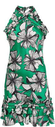 Alexis Erica Floral-Print Satin Halterneck Mini Dress