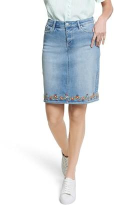 NYDJ Denim Skirt with Embroidered Hem
