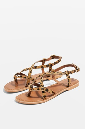 Topshop Womens Hazy Leopard Print Leather Flat Sandals - True Leopard