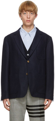 Thom Browne Navy Wool Unconstructed Blazer