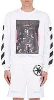Off-White Men's Mixed-Print Cotton French Terry Sweatshirt-WHITE