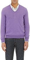 Barneys New York Men's V-Neck Sweater-PURPLE