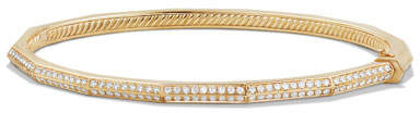 David Yurman Stax 18k Gold Faceted Bracelet with Diamonds, Size M
