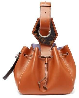 Ganni Drawstring Leather Bucket Bag - Womens - Tan
