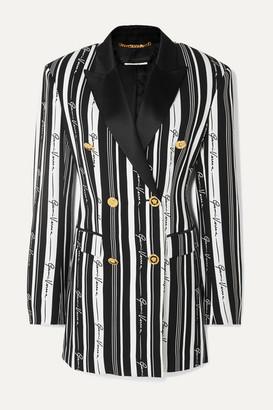 Versace Double-breasted Striped Crepe Mini Dress - Black