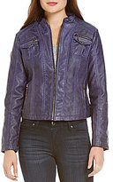 Indigo Saints Vegan Leather Moto Jacket