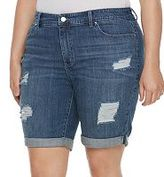 JLO by Jennifer Lopez Plus Size Destructed Jean Bermuda Shorts