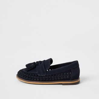 River Island Mini boys navy woven tassel loafers
