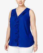 INC International Concepts Plus Size Zip-Front Ruffled Top, Only at Macy's