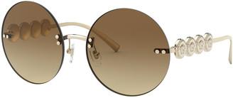 Versace Rimless Round Sunglasses w/ Medusa Arms