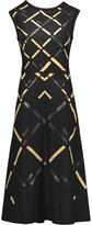 Jil Sander Leather-appliquéd wool-felt dress