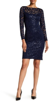 Marina Illusion Yoke Sequin Lace Sheath Dress