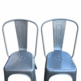 17 Stories Charlbury Metal Slat Back Stacking Side Chair Color: Gunmetal