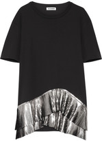 Jil Sander Pleated Metallic-trimmed Jersey Top - Black