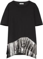 Jil Sander Pleated Metallic-trimmed Jersey Top - Black
