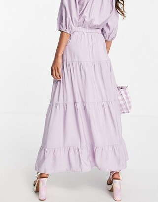 And other stories & ecovero co-ord tiered midi skirt in lilac
