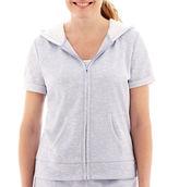 JCPenney Silverwear Short-Sleeve Hooded Eyelet Jacket - Petite
