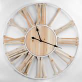 Asstd National Brand Wood Metal Round Roman Numeral Wall Clock, One Size , Beige