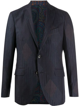 Etro Multi-Stripe Single Breasted Blazer