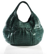 Nancy Gonzalez Teal Alligator Ruched Pocketed Hobo Shoulder Handbag