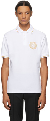 Versace Jeans Couture White and Gold Logo Polo
