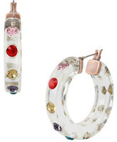 Betsey Johnson Mixed Faceted Stone Lucite Hoop Earrings
