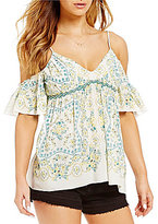 Chelsea & Violet Printed Cold Shoulder Top