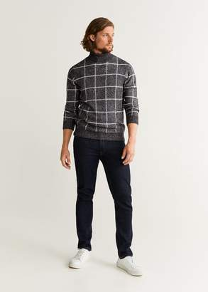 MANGO MAN - Checked turtleneck sweater dark heather grey - S - Men