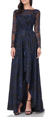 Carmen Marc Valvo Embroidered Mesh Long Sleeve High/Low Gown