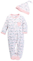 Offspring Kitty Print Footie & Hat Set (Baby Girls)