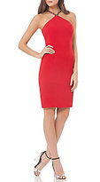 Carmen Marc Valvo Beaded Halter Neck Shift Dress