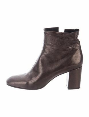 Coclico Leather Ruffle Embellishment Boots Metallic