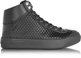 Jimmy Choo Argyle Black Satin High Top Men's Sneakers w/Mini Rubber Stars
