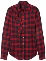Banana Republic Dillon-Fit Plaid Ruffle Flannel Shirt