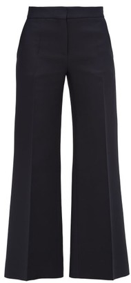 Valentino Crepe Couture Wool-blend Kick-flare Trousers - Navy