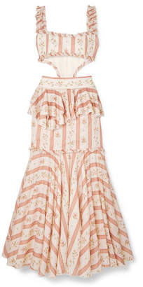 Brock Collection Cutout Ruffle-trimmed Printed Cotton Maxi Dress - Pink