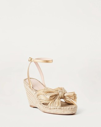 Loeffler Randall Charley Bow Espadrille Wedge Gold