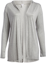 Bellino Heather Gray Hooded Open Cardigan - Plus