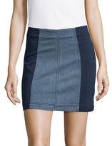 Free People Modern Femme Colorblock Denim Mini Skirt