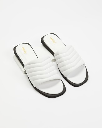 Betsy - Women's White Flat Sandals - Padded Slides - Size 36 at The Iconic
